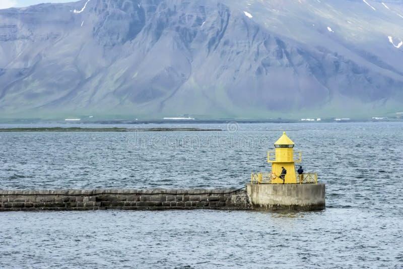 Wędkarz latarnia morska Reykjavik zdjęcia royalty free
