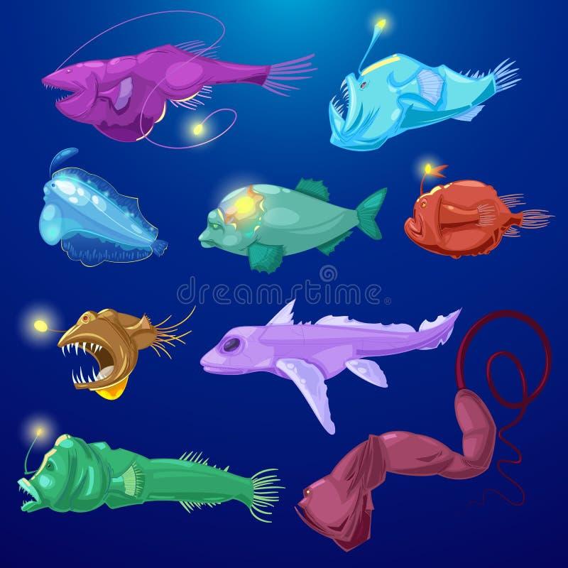 Wędkarz ryba seafish drapieżnika wektorowy charakter z zębami i wędkarzem podmorskim w tropikalnej przyrodzie światła lub kresków ilustracji