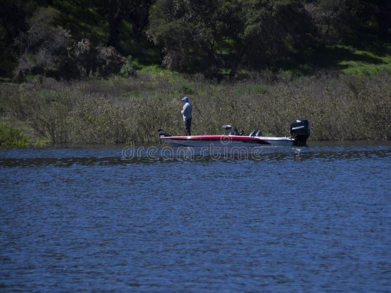 Wędkarza samotne ryby przy Cachuma jeziorem w Santa Barbara okręgu administracyjnym obraz royalty free