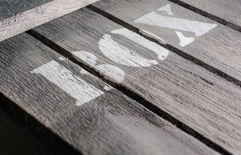Wędkujący Makro- Drewniani panel Z PUDEŁKOWATYM logem zdjęcia royalty free