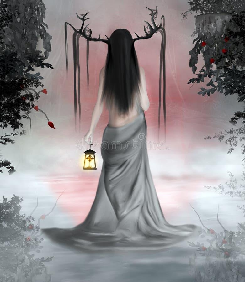 Wędrowiec w mglistym lesie ilustracji