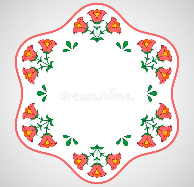 Węgierska hafciarska rama z kwiecistą dekoracją ilustracja wektor