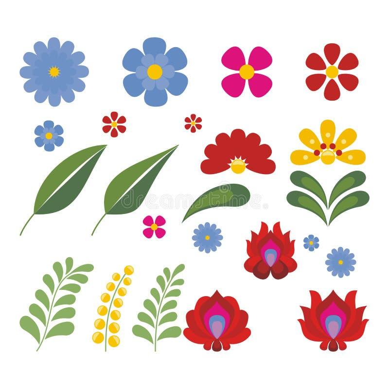 Węgierski Etniczny Ludowy kwiatu projekt ilustracja wektor