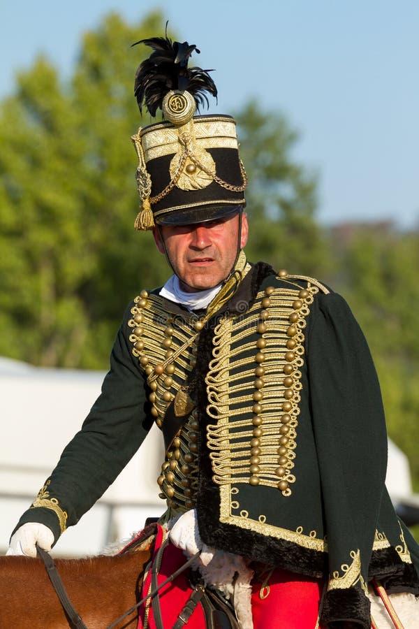 Węgierski hussar w tradycyjnym Węgierskim przedstawieniu, 18 08 2013 Węgry fotografia stock