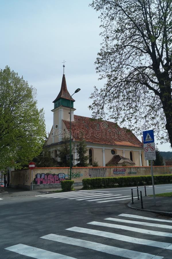 Węgierski Luterański Ewangelicki kościół 1783, Rumunia, Transylvania, Brasov obraz royalty free