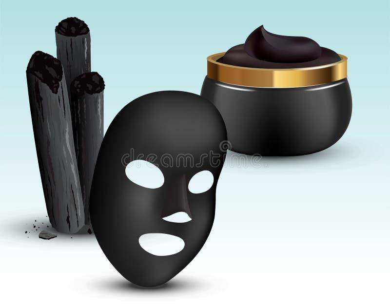 Węgla drzewnego bambusa kije, czerni maska Kosmetyczny creme w słoju 3D Realistyczna Wektorowa ilustracja royalty ilustracja