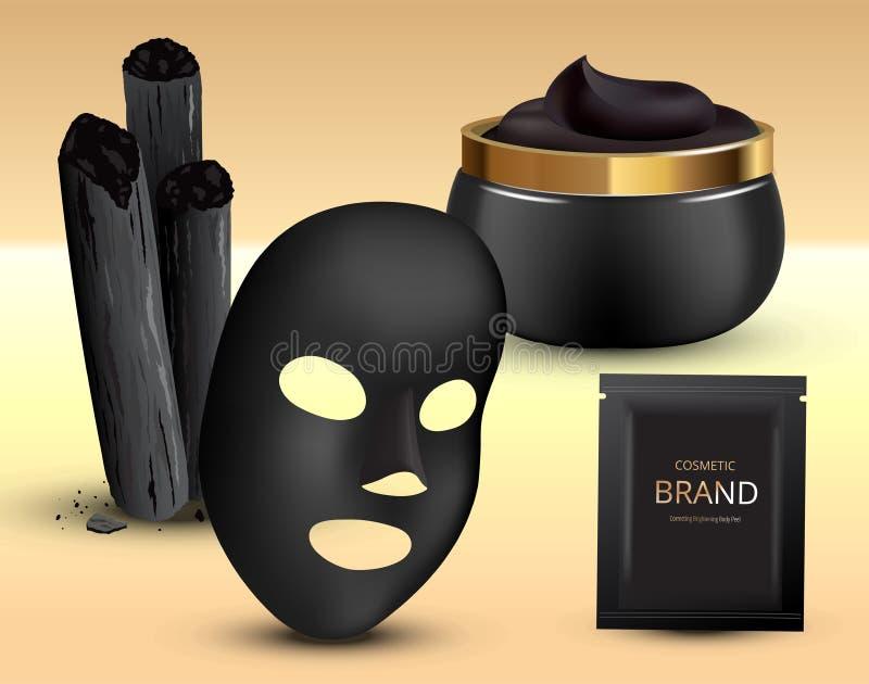 Węgla drzewnego bambusa kije, czerni maska Kosmetyczny creme w słoju i klingerytu saszetce 3D Realistyczna Wektorowa ilustracja ilustracja wektor