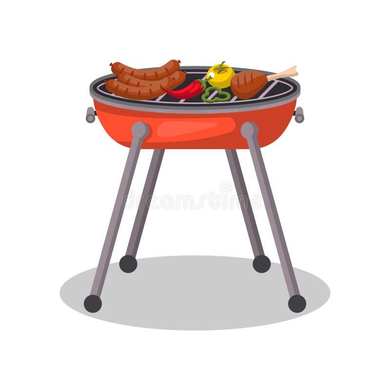 Węgla drzewnego grilla grill z jedzenie odosobnioną ikoną royalty ilustracja