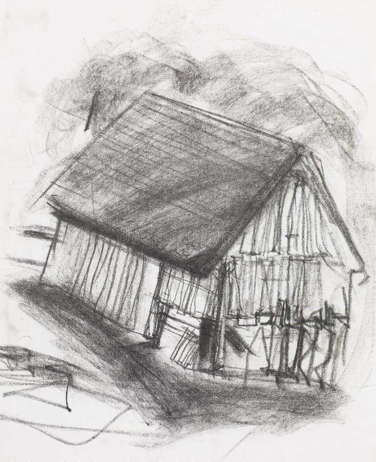 Węgla drzewnego nakreślenie stara stajnia ilustracja wektor