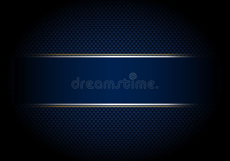 Węgla włókna tło, tekstura i oświetlenie z błękitną etykietką srebrem i, złoto linia Luksusu styl Materialna tapeta dla samochodu royalty ilustracja