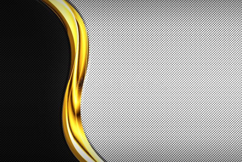 Węgla włókno i złota chromium koszowa rama Metalu t?o ilustracji