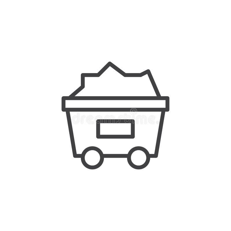 Węglowa tramwaju konturu ikona ilustracji