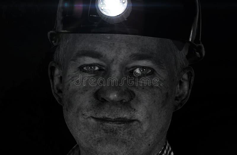 Węglowego górnika †'twarz pracownik fabryczny obraz royalty free