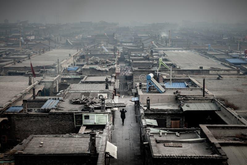 Węglowego popiółu zanieczyszczenie przy Pingyao, Chiny zdjęcie royalty free