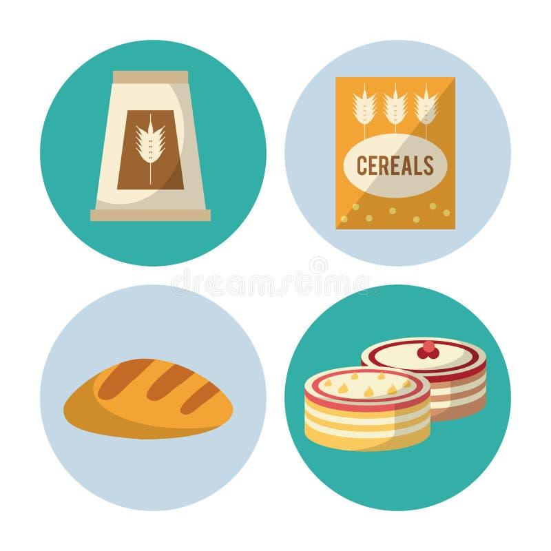 Węglowodanu jedzenia ikony ilustracja wektor