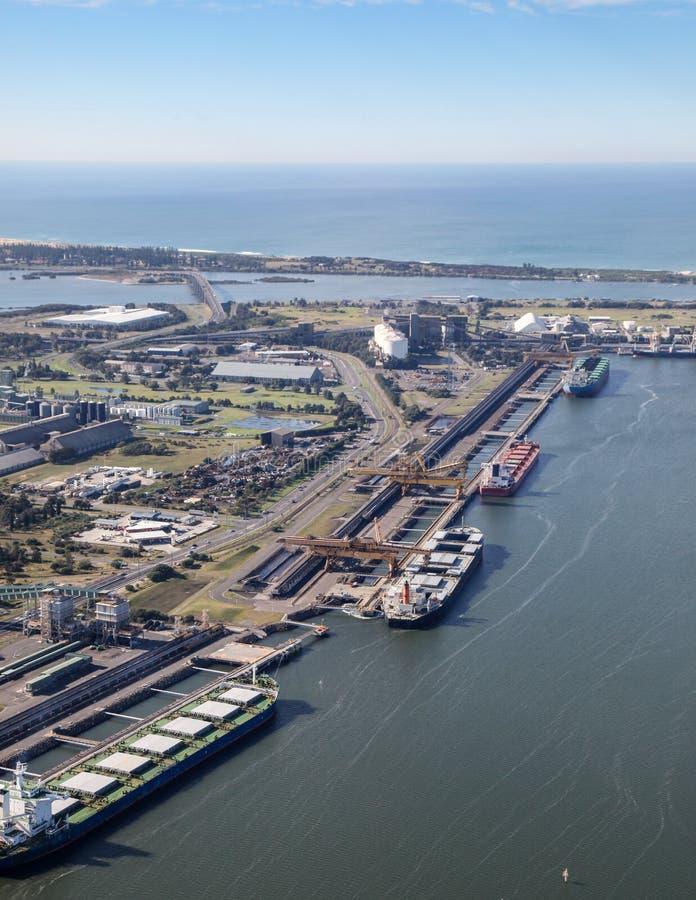 Węglowy eksport - Kooragang wyspa Newcastle Australia obraz royalty free