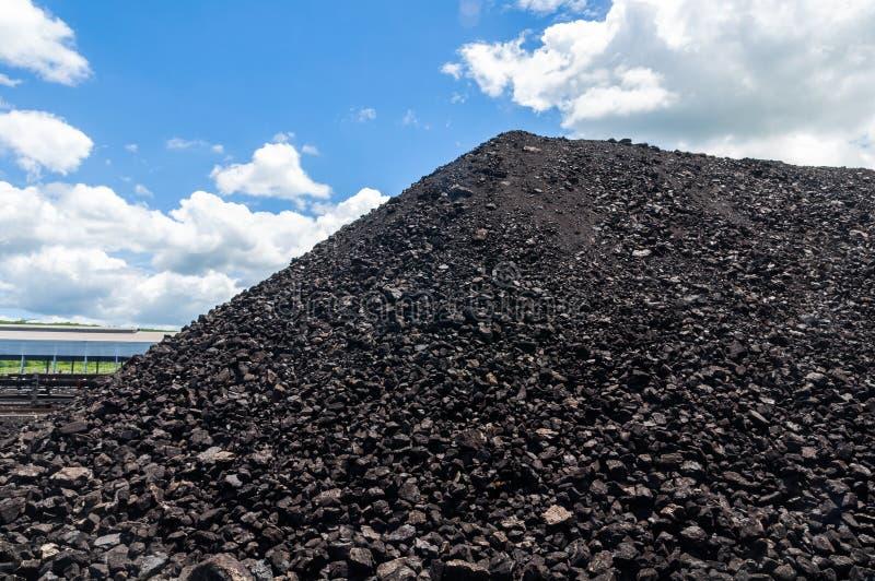 Węglowy magazyn lub Węglowy zapas dla elektrowni z niebieskim niebem wewnątrz zdjęcie stock