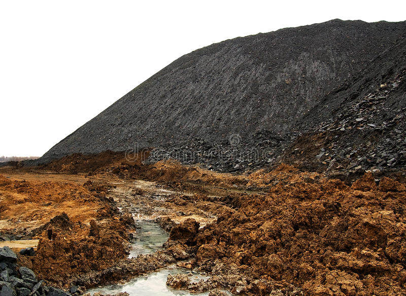 węglowy rozsypisko odizolowywający terricone odpady biel zdjęcie stock