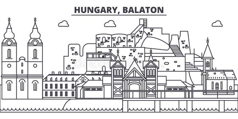 Węgry, Balaton linii linii horyzontu wektoru ilustracja Węgry, Balaton liniowy pejzaż miejski z sławnymi punktami zwrotnymi, mias ilustracja wektor