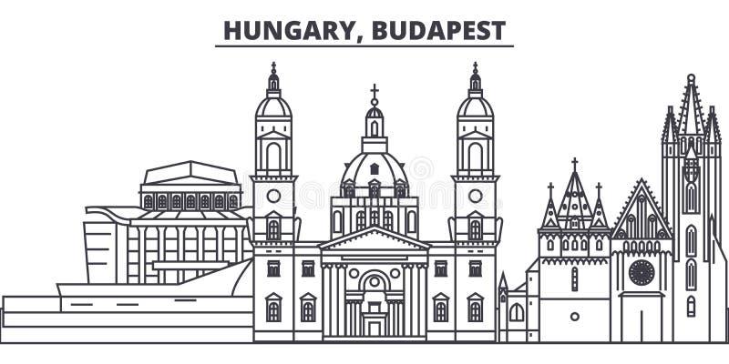 Węgry, Budapest linii linii horyzontu wektoru ilustracja Węgry, Budapest liniowy pejzaż miejski z sławnymi punktami zwrotnymi, mi ilustracji