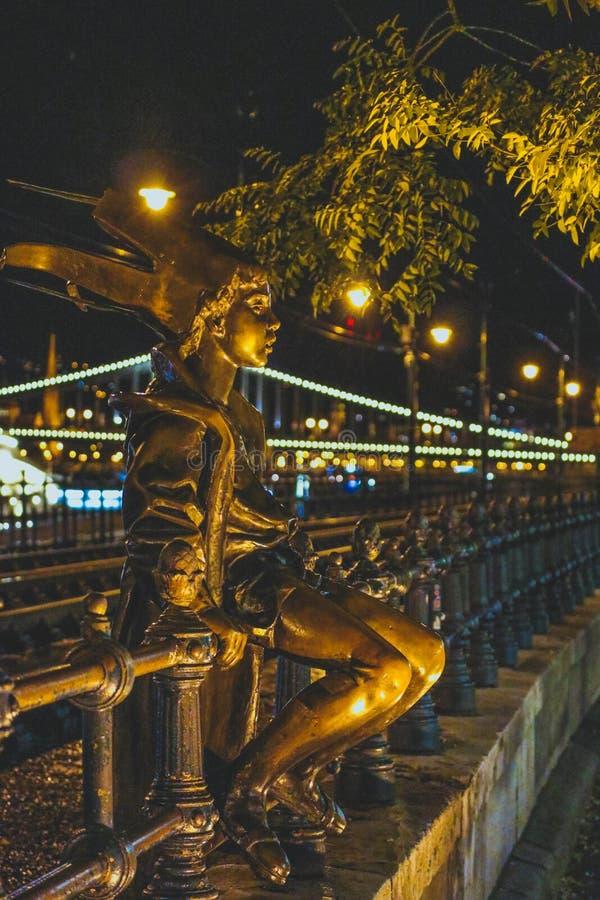Węgry, Budapest, mała princess rzeźba, życie nocne Europea fotografia stock