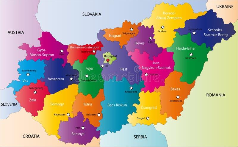 Węgry mapa ilustracja wektor