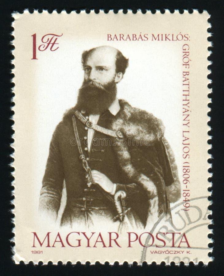 WĘGRY - OKOŁO 1981: Poczta znaczek drukujący w Węgry przedstawieniach Liczy Lajos Batthyany Pierwszy Pierwszorzędny minister Węgr zdjęcie stock