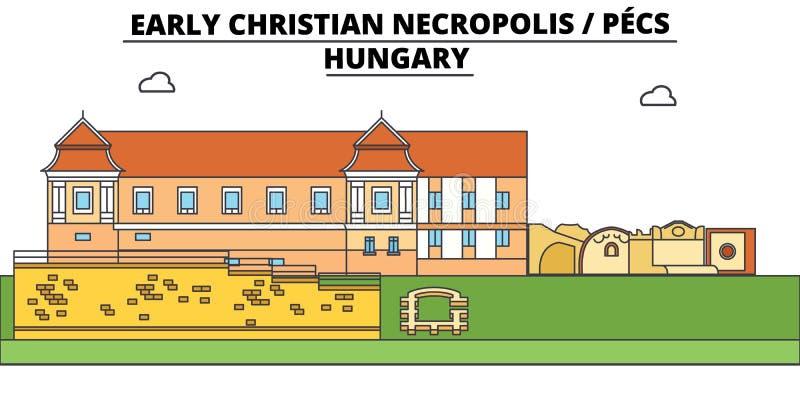 Węgry, Pecs, Wczesny Chrześcijański Necropolis, podróży linia horyzontu wektoru ilustracja ilustracji