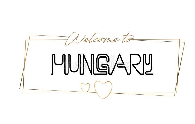 Węgry powitanie teksta literowania Neonowa typografia Słowo dla logotypu, odznaka, ikona, pocztówka, logo, sztandaru wektoru ilus royalty ilustracja