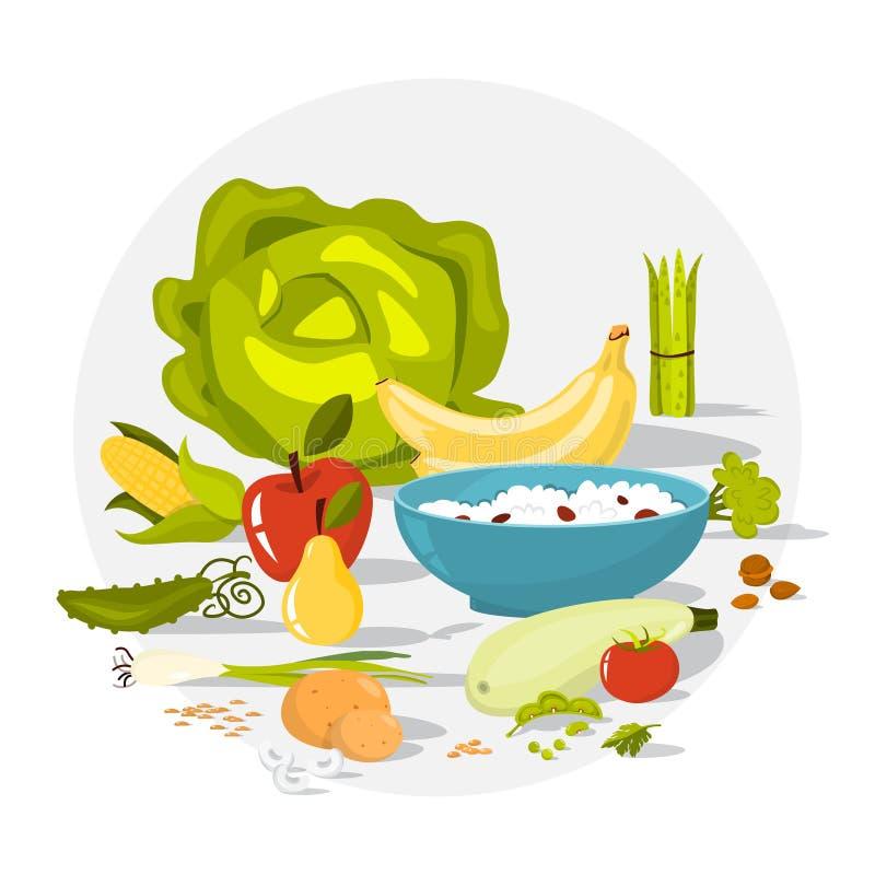 Włókna jedzenia set Fasole i brokuły, ryż royalty ilustracja