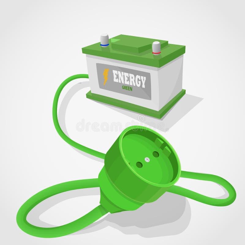 Download Włącznika Zielony Energetyczny Accumulator Ilustracji - Ilustracja złożonej z ilustracje, natura: 57653107