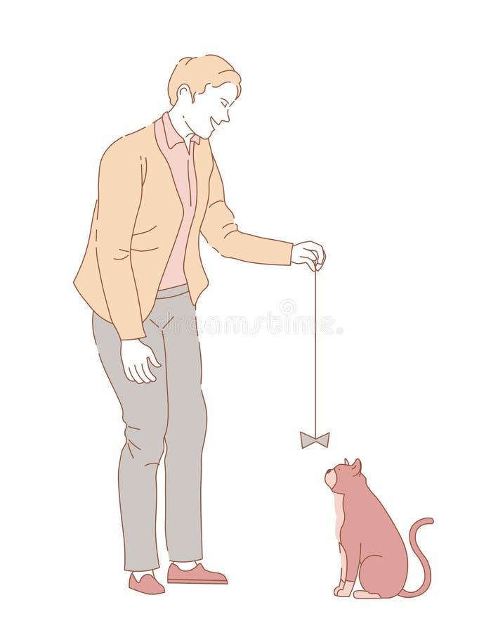 Właściciela męski bawić się z figlarnie zwierzęciem z futerkiem ilustracja wektor