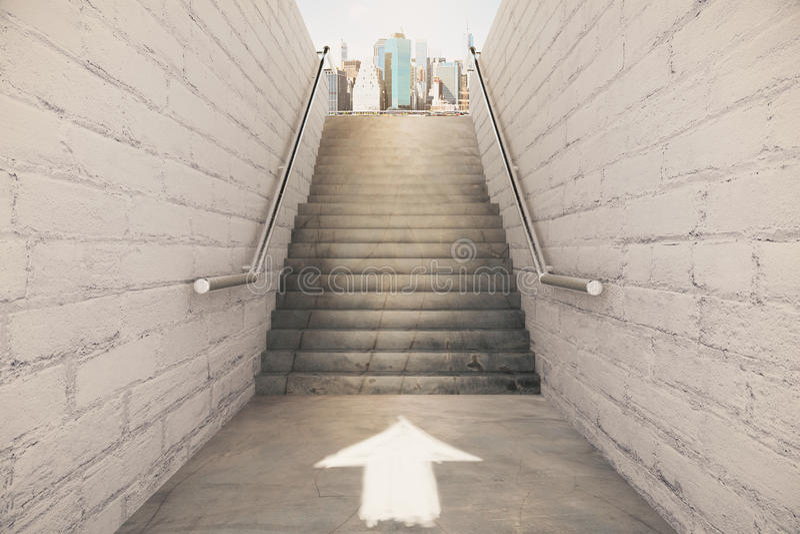 Właściwa wskazówka na schody pojęciu obrazy royalty free