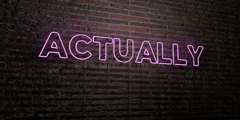 WŁAŚCIWIE - Realistyczny Neonowy znak na ściana z cegieł tle - 3D odpłacający się królewskość bezpłatny akcyjny wizerunek ilustracji