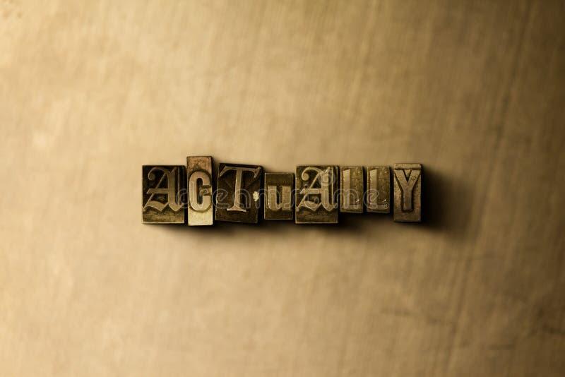 WŁAŚCIWIE - zakończenie grungy rocznik typeset słowo na metalu tle royalty ilustracja