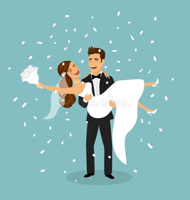 Właśnie para małżeńska, fornal niesie panny młodej w rękach po ślubnej ceremonii ilustracja wektor
