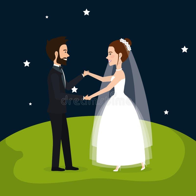 Właśnie para małżeńska w polu ilustracja wektor