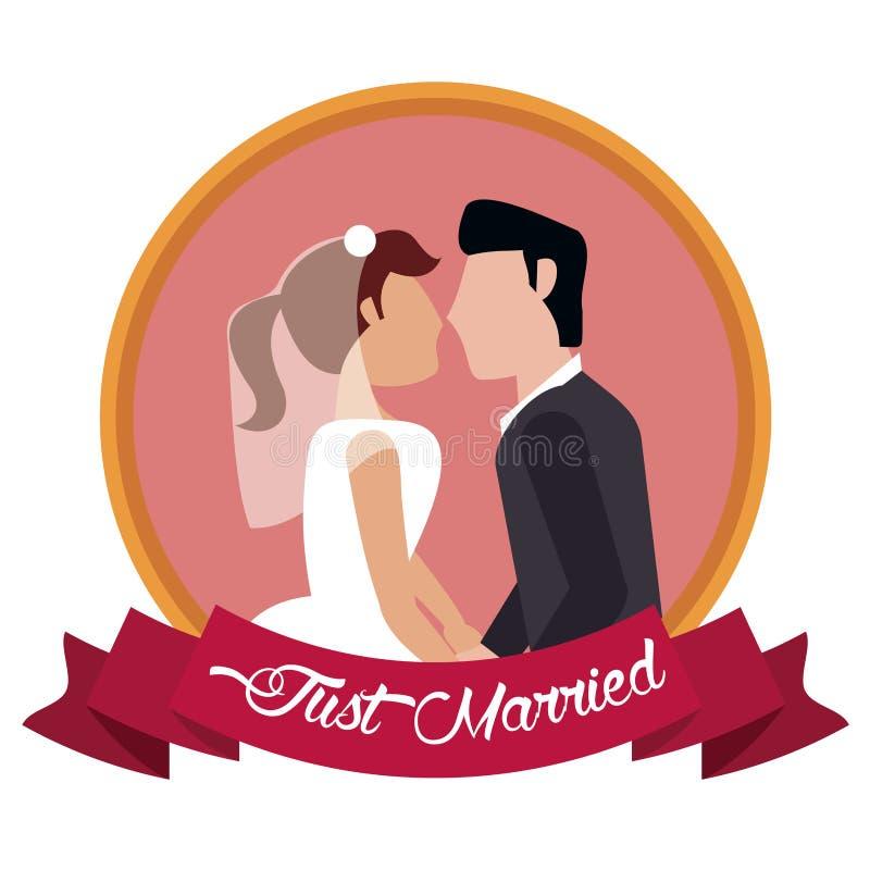 właśnie pary małżeńskiej wpólnie etykietka ilustracji