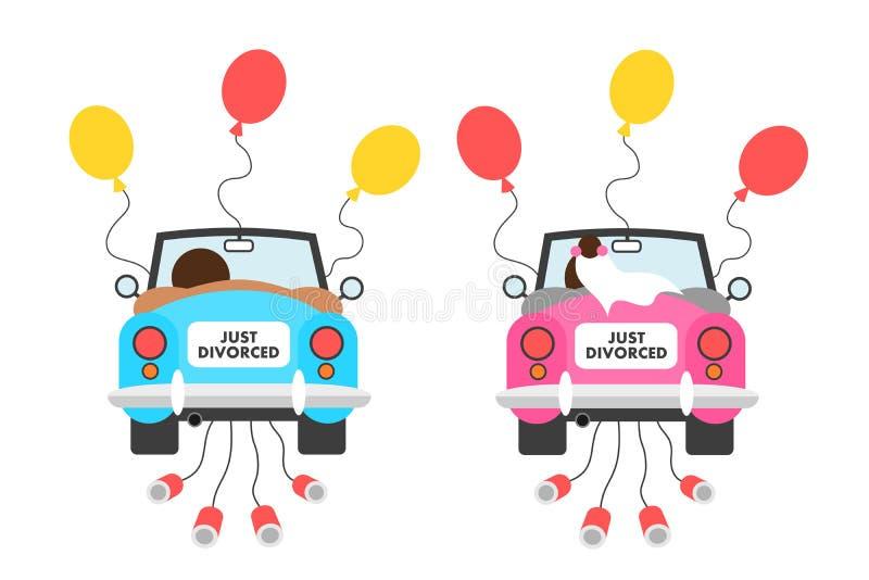 Właśnie rozwiedziony - poprzedni małżeństwo mąż i żona kończy po rozwodu ilustracja wektor