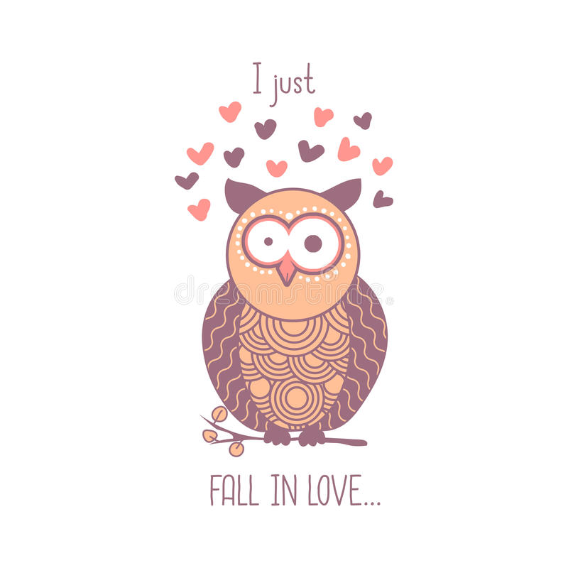 Właśnie spadam w miłości Śliczne menchie szokująca kreskówki sowa z sercami Odosobniony element dla kartka z pozdrowieniami proje royalty ilustracja