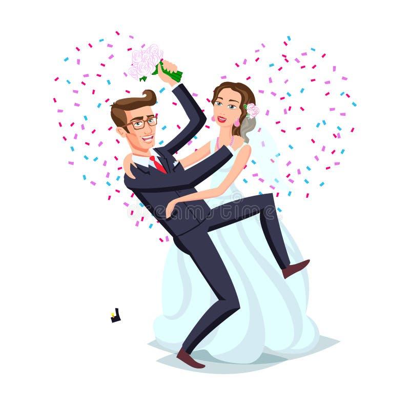 Właśnie zamężna śmieszna para, państwo młodzi taniec po od ślubnej ceremonii menchii tła serca wektoru ilustracja wektor