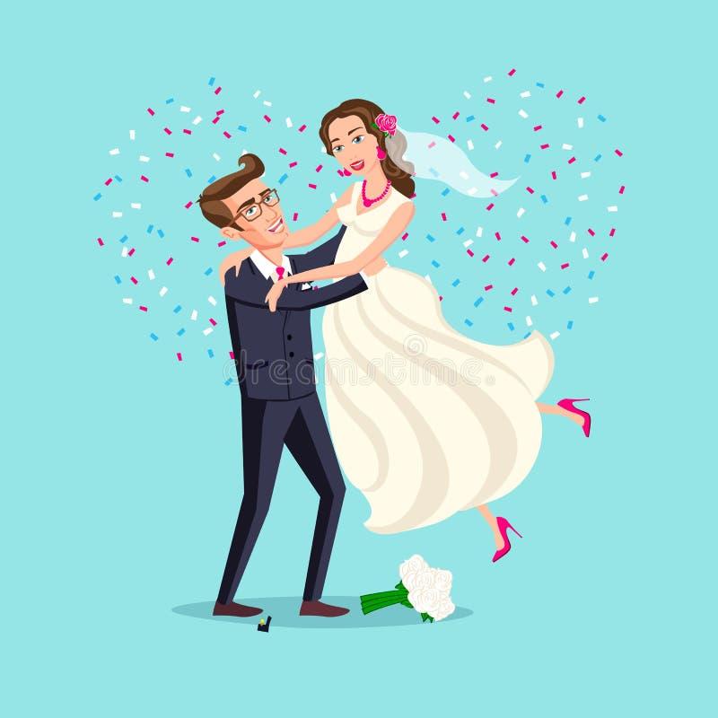 Właśnie zamężna śmieszna para, państwo młodzi taniec po od ślubnej ceremonii menchii tła serca wektoru ilustracji