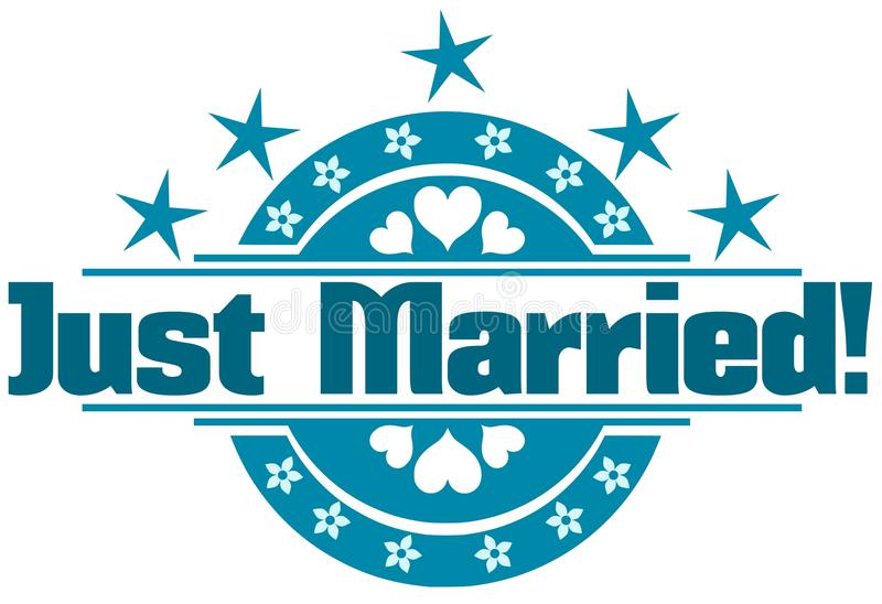 Właśnie zamężna etykietka royalty ilustracja