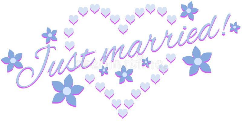 Właśnie zamężna etykietka z sercami ilustracji