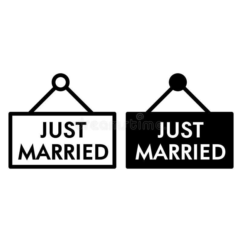 Właśnie zamężna linia i glif ikona Deski właśnie zamężna ilustracja odizolowywająca na bielu Ślubny konturu stylu projekt ilustracji