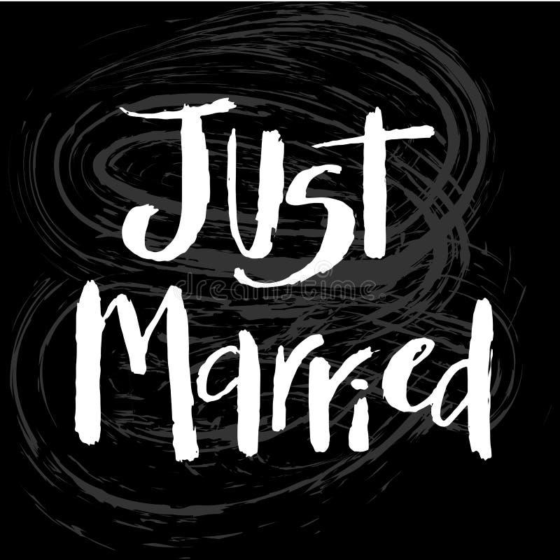 Właśnie zamężna ręka rysujący literowanie Rocznika kartka z pozdrowieniami, małżeństwa zaproszenie, plakat, sztandar, logo, ikona ilustracja wektor