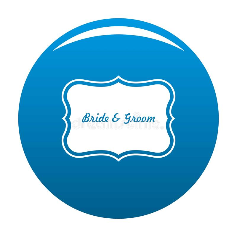 Właśnie zamężny etykietki ikony błękita wektor ilustracja wektor