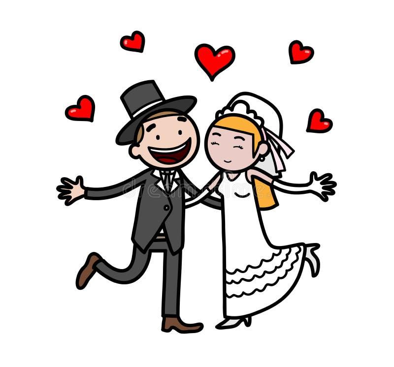 Właśnie Zamężny nowożeńcy ślubu pary Doodle ilustracja wektor