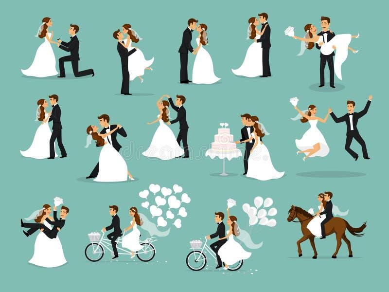 Właśnie zamężny, nowożeńcy, państwo młodzi set ilustracja wektor