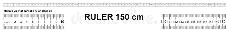 Władca 150 cm Precyzyjny pomiarowy narzędzie Władcy skala 1,5 metrów Władcy siatka 1500 mm Metryczni centymetra rozmiaru wskaźnik ilustracji